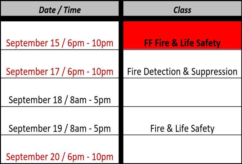 Fire Training Schedule