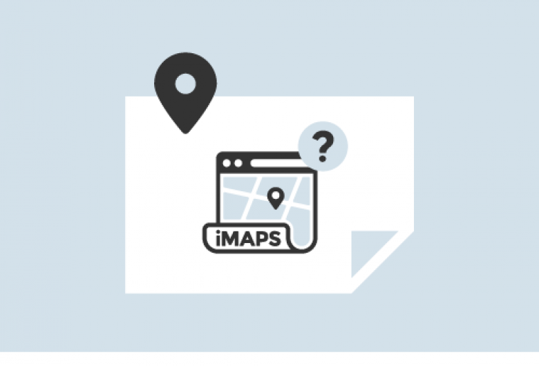 iMAPS help logo, showing a map with pinpoint icon and a question mark
