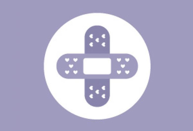 Vaccine Booster graphic, with crossed bandages