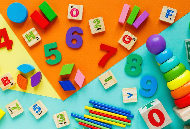 Colorful letters, numbers, blocks, toys
