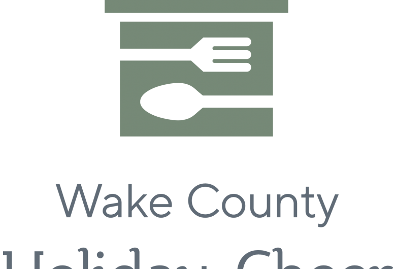 Wake County Holiday Cheer logo, with fork and spoon superimposed on gift box graphic