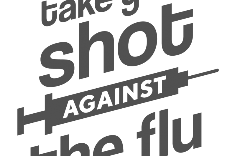 Take your shot against the flu graphic, with syringe