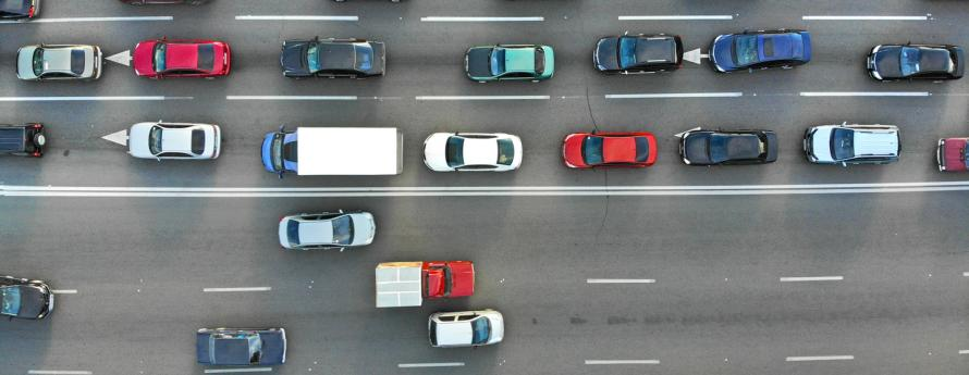 aerial view of cars on a highway