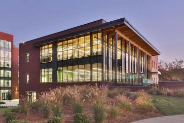 Cary Regional Library exterior at sunset