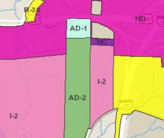 map of Wake County zoning classifications