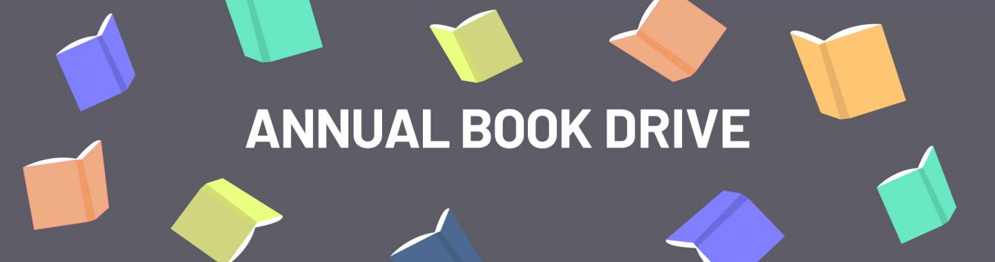 Annual Book Drive banner, with images of open books