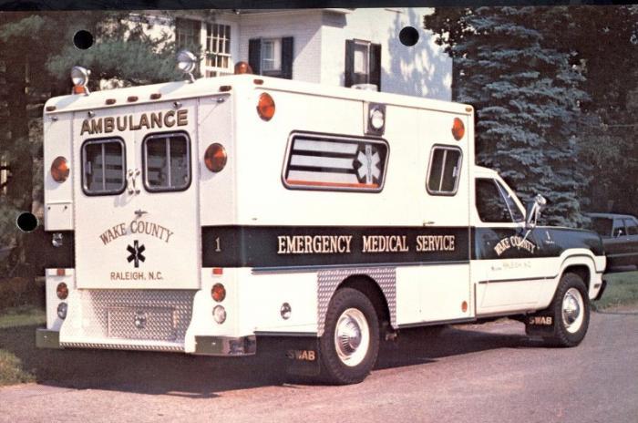 Original Wake County EMS ambulance parked on a street
