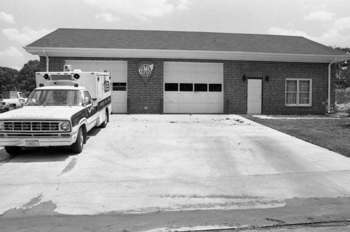 Ambulance in front of station around 1980