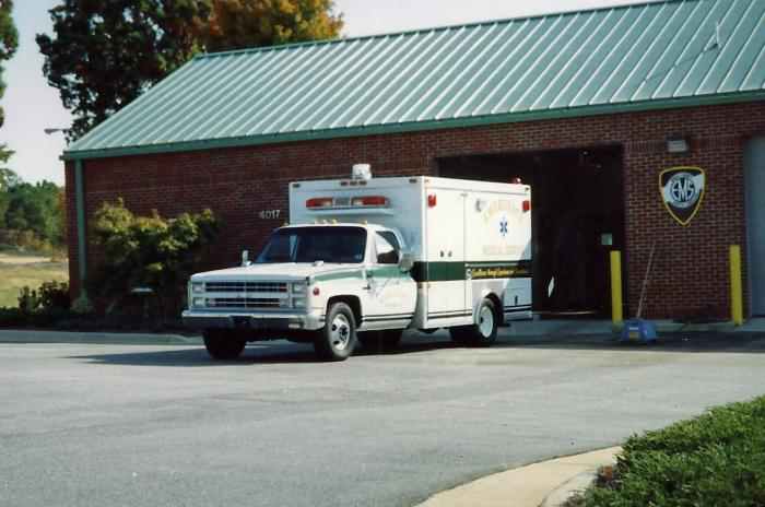 Ambulance in front of station around 1995