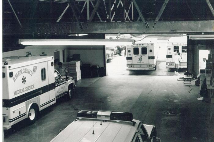 Ambulances inside the original EMS station in the 1990s