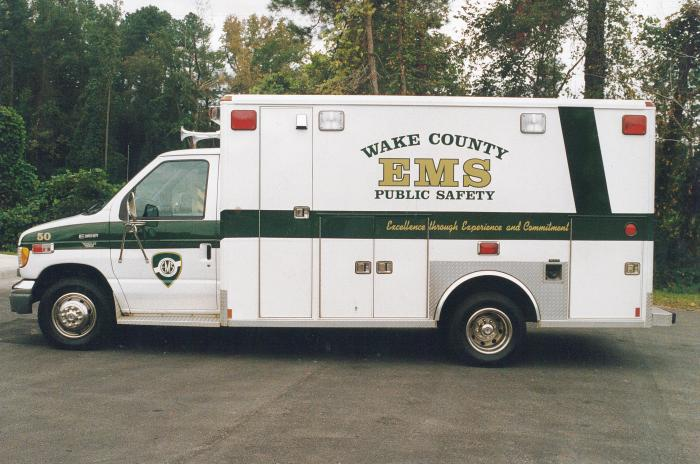 Ambulance parked at the Wake Forest EMS station