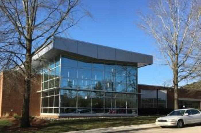 A picture of the Wake Forest Community Library entrance