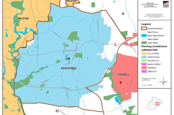 map of inspector area 10 - Knightdale and surrounding area