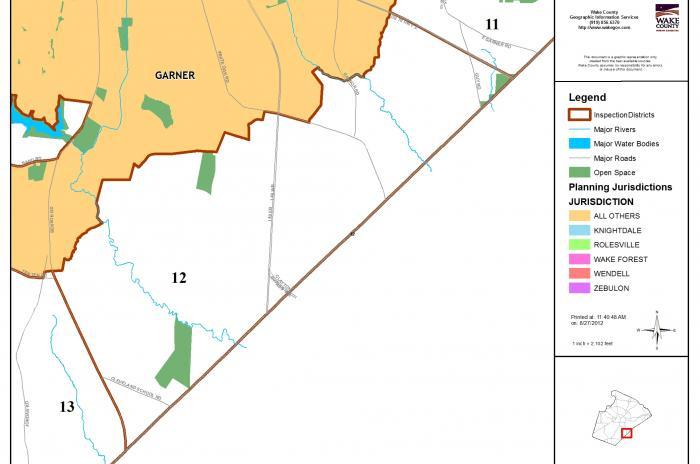 map of inspector area 12 - southeast of Garner
