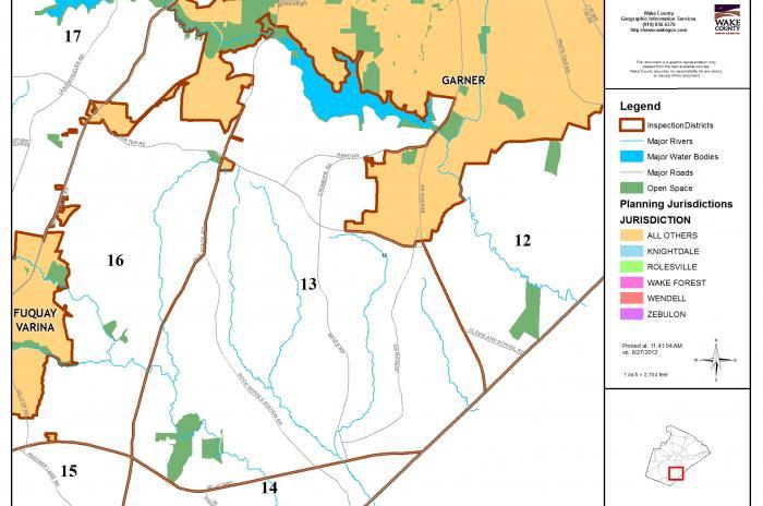 map of inspector area 13 - south of Garner