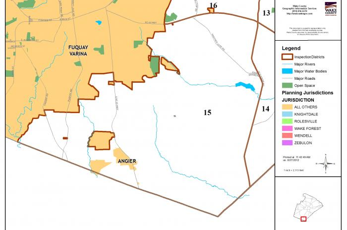 map of inspector area 15 - SE of Fuquay Varina