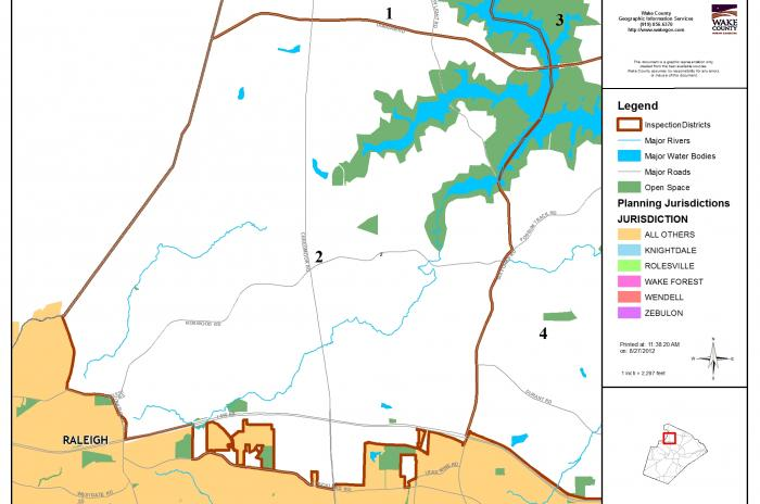 map of inspector area 2 N of 540 and W of Six Forks