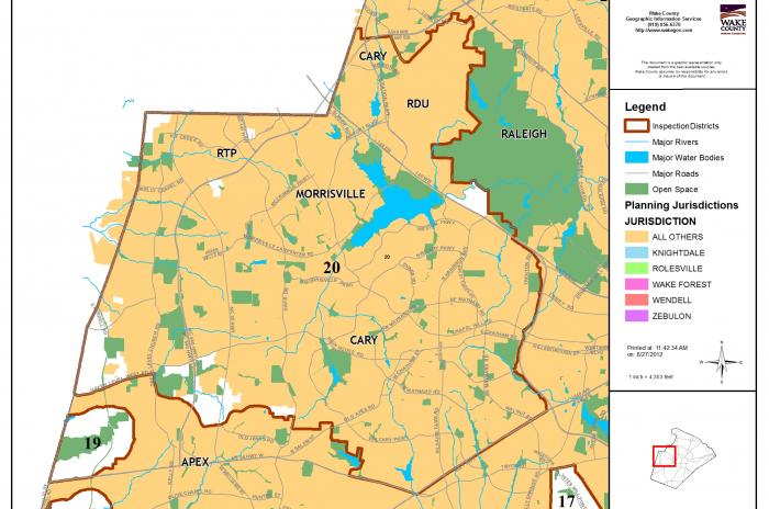map of inspector area 20 - RTP, Morrisville, Cary