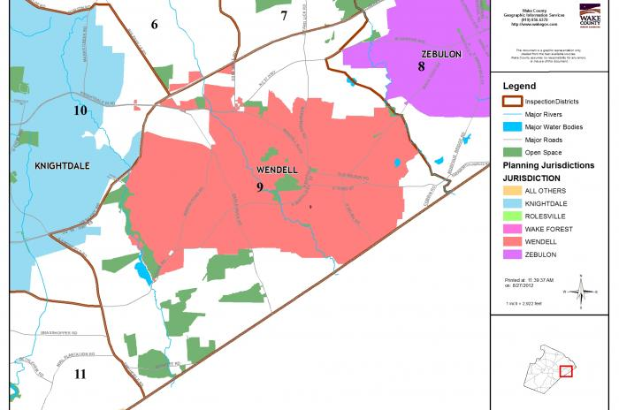 map of inspector area 9 - Wendell and surrounding area