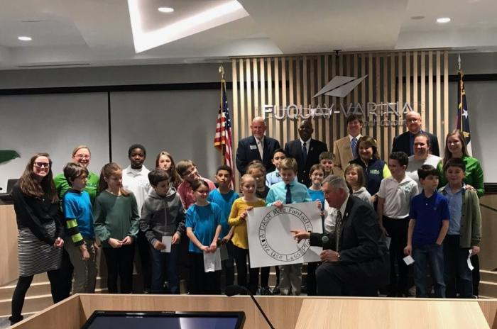 Lincoln Heights students presenting at Fuquay Varina Town Hall