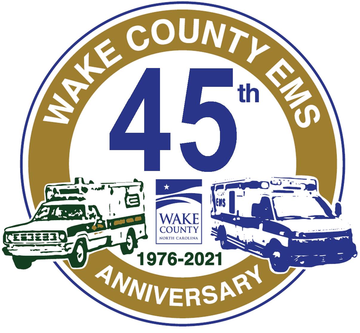 Wake County EMS 45 Anniversary logo featuring a 1976 ambulance and a modern ambulance