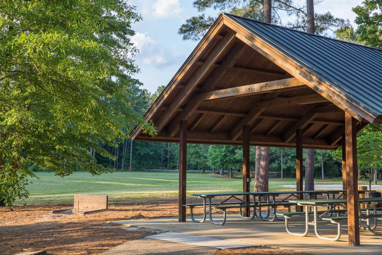 picnic shelter in front of field