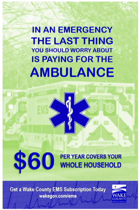 $60 EMS subscription brochure cover with image of a Wake County ambulance