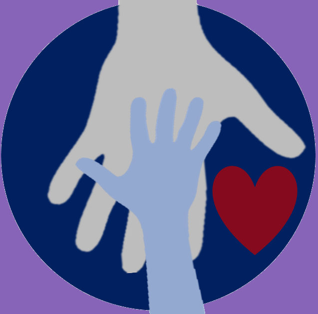 Illustrated image of a child's hand on top of an adult's hand with a heart.