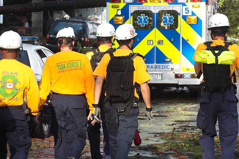 Urban search and rescue members walking toward an incident