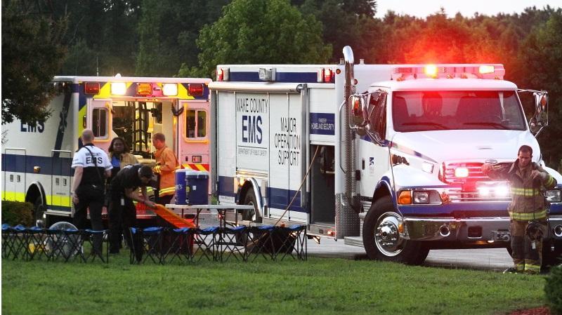 EMS Major Operations unit setting up a responder rehabilitation station