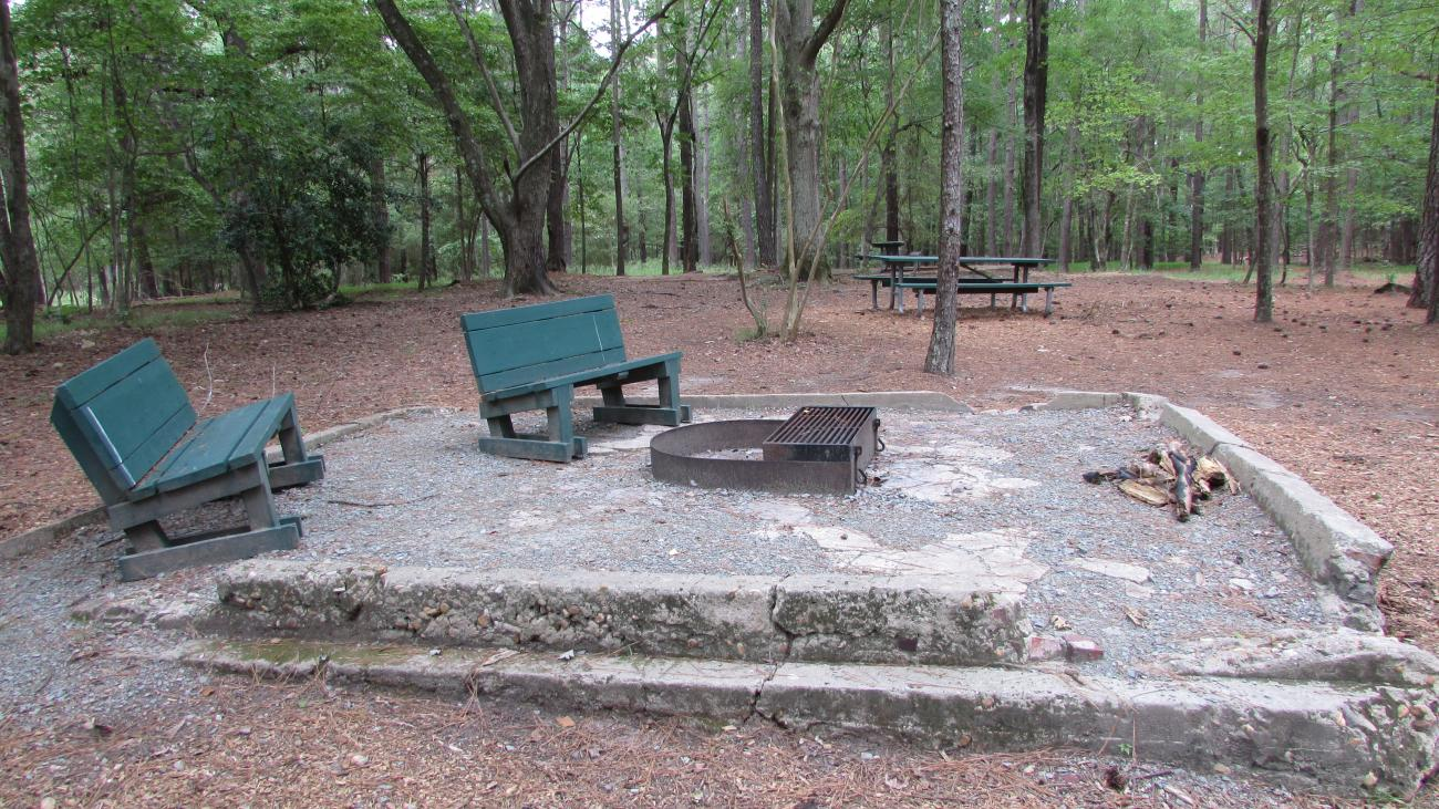 Photo showing the grill pad of the Primitive Group Camp Site, featuring a grill and two chairs