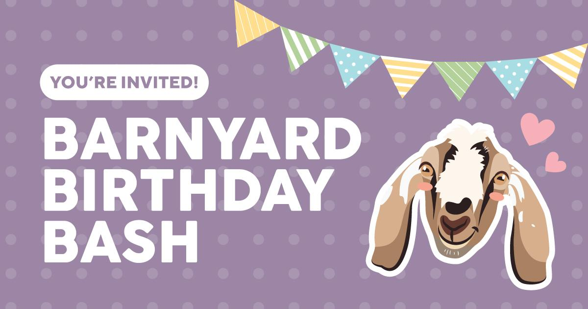 Graphic for the Barnyard Birthday Bash event featuring cartoon goat