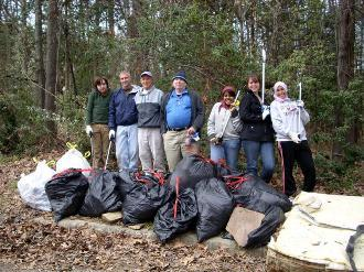 Picture of volunteers with litter collection