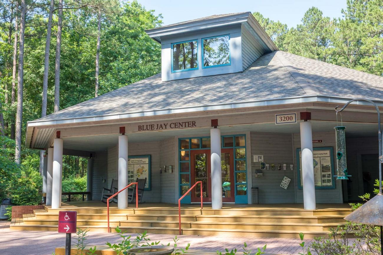 a picture of the front entrance to the Blue Jay Center for Environmental Education