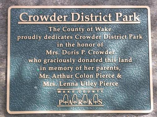 Doris Crowders stone dedication in Crowder Park