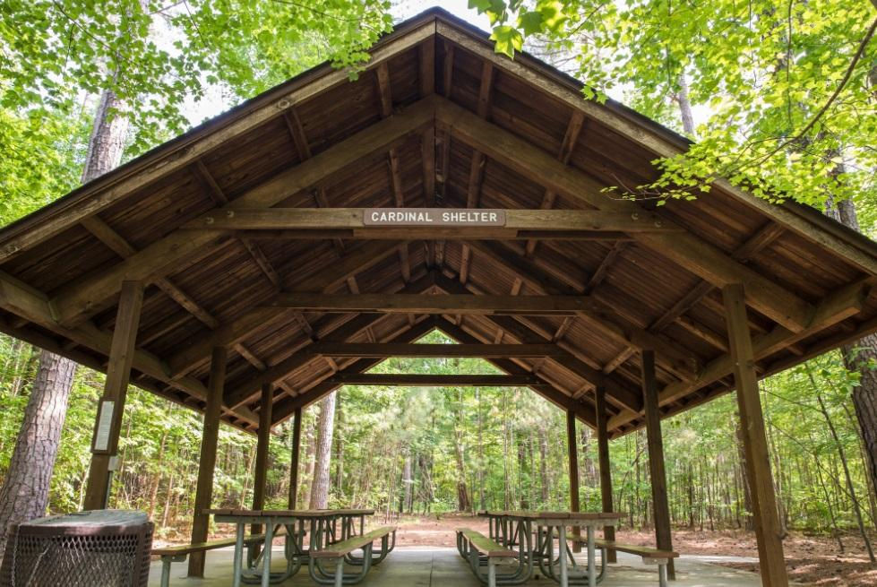 View of the parks medium sized wooden picnic shelter with picnic tables