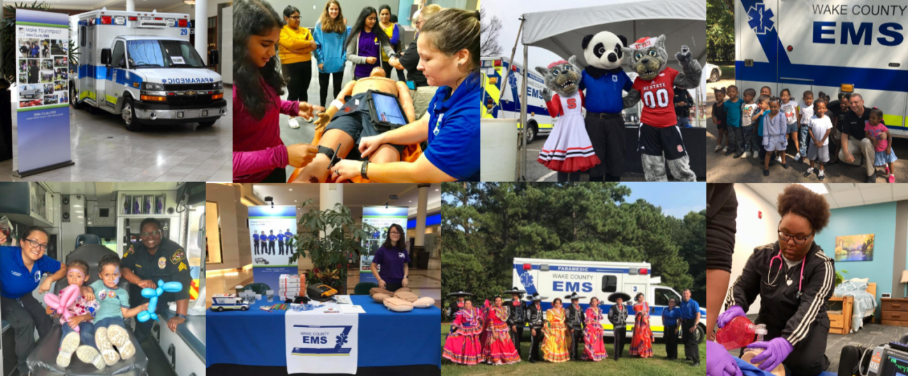 Collage of paramedics interacting with children and sports mascots at various public relations events