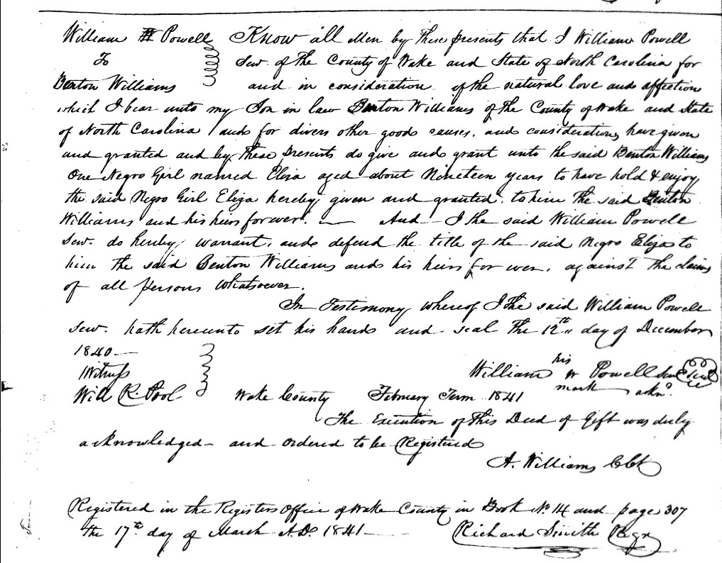 Image of deed of sale for Eliza, a young girl enslaved at Oak View