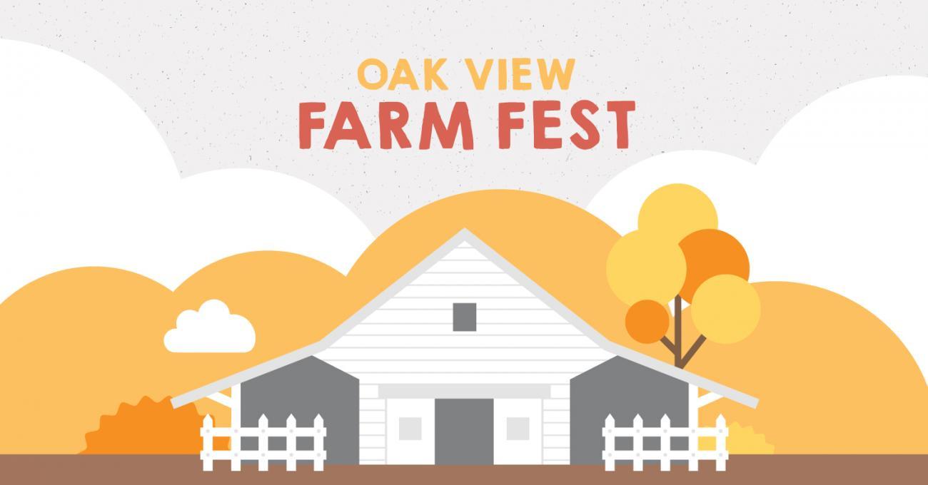 Graphic design advertising Oak View Farm Fest event with cartoon barn