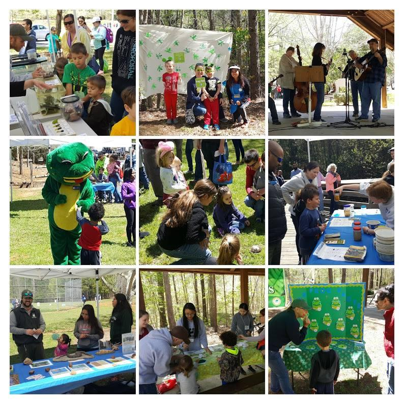 children and families patriciate in craft activities at event and take photos with frog mascot