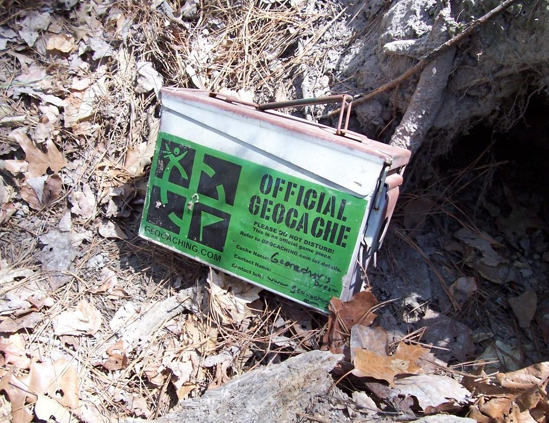 Close-up photo of one of the many geocaches found at Harris Lake County Park