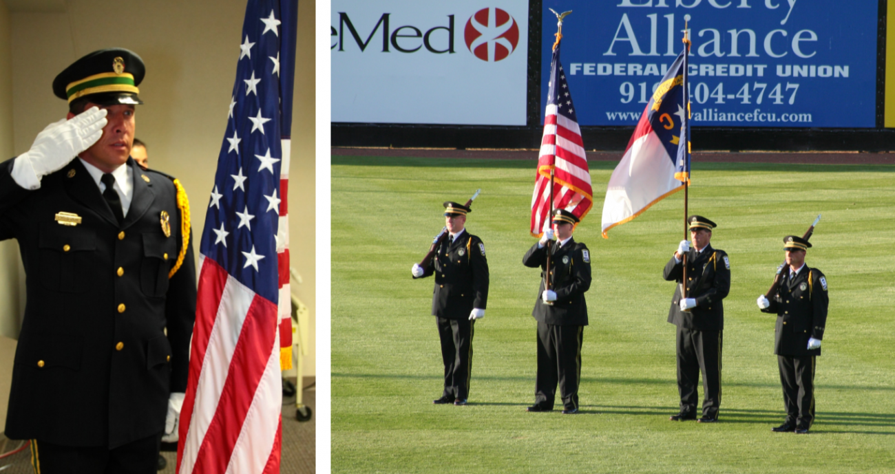 EMS honor guard member saluting American flag