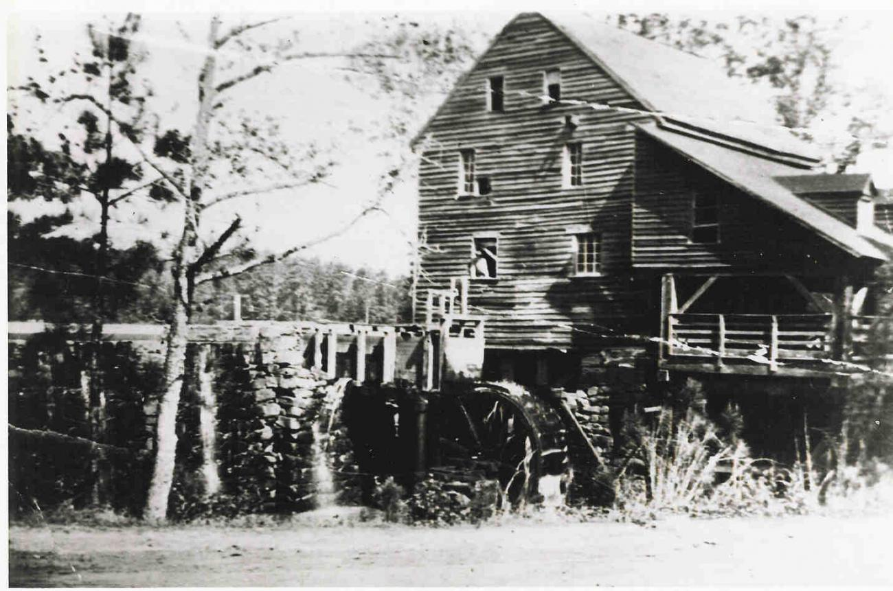 old black and white photo of historic mill