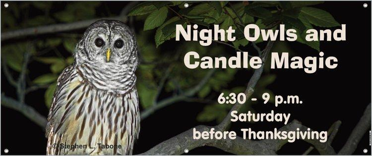a banner with a picture of a barred owl advertising Night Owls and Candle Magic