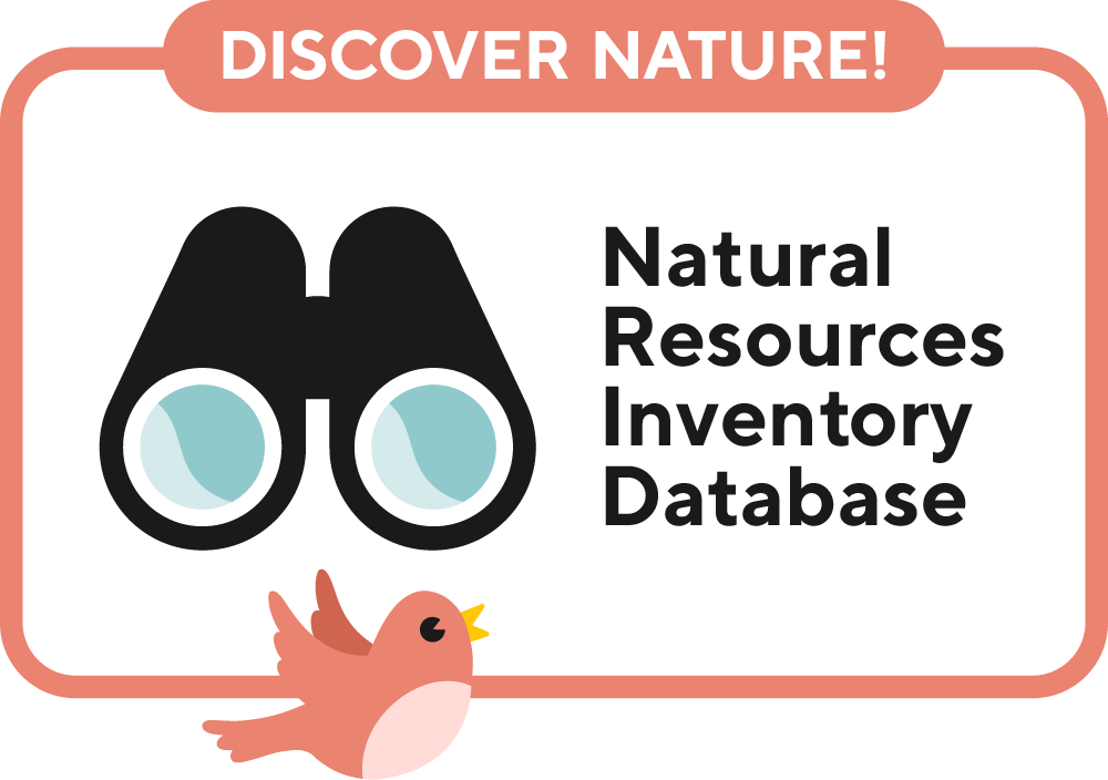 The Natural Resources Inventory Database graphic featuring binoculars and a red bird