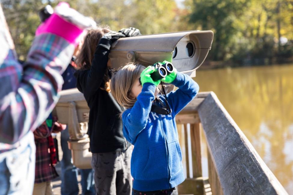 kid looks over pond boardwalk with binoculars