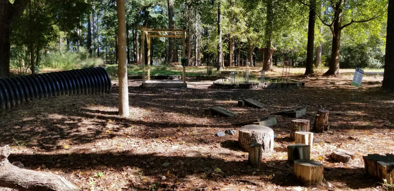 View of the Natural Play Area including stump jumps, tunnel, and arbor with sandbox below