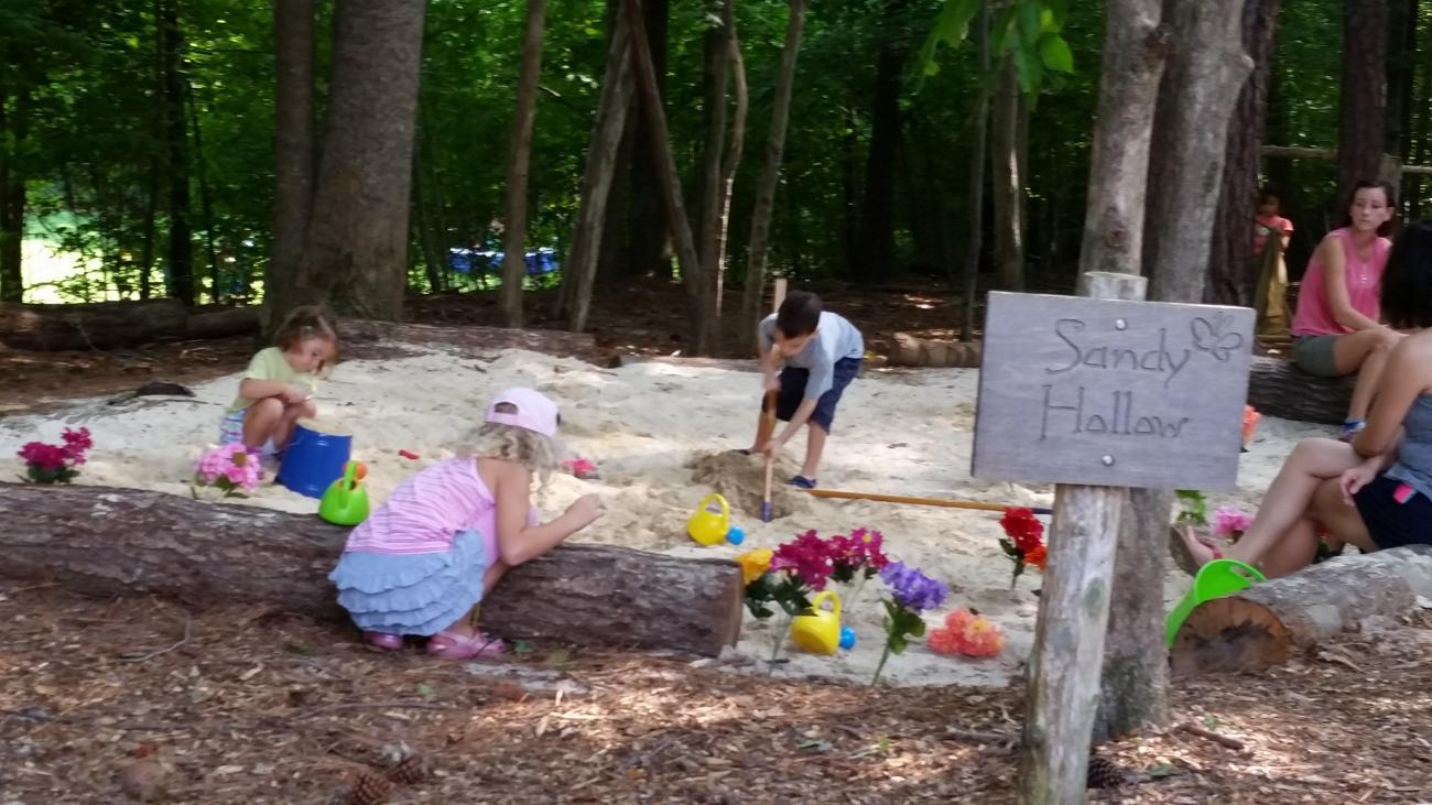 """Children using thematic """"loose parts"""" in a natural play area during a Nature Play Day"""