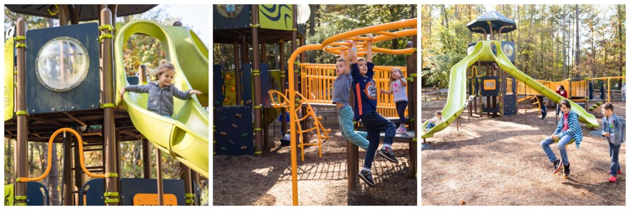 three different images showing slides and other playground equipment while children play