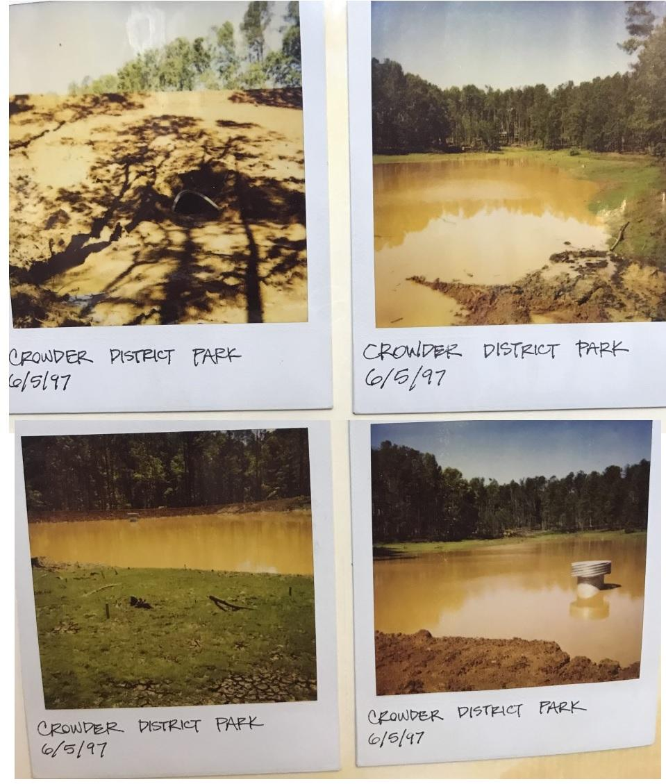 Old pictures of early park construction, including the construction of the pond